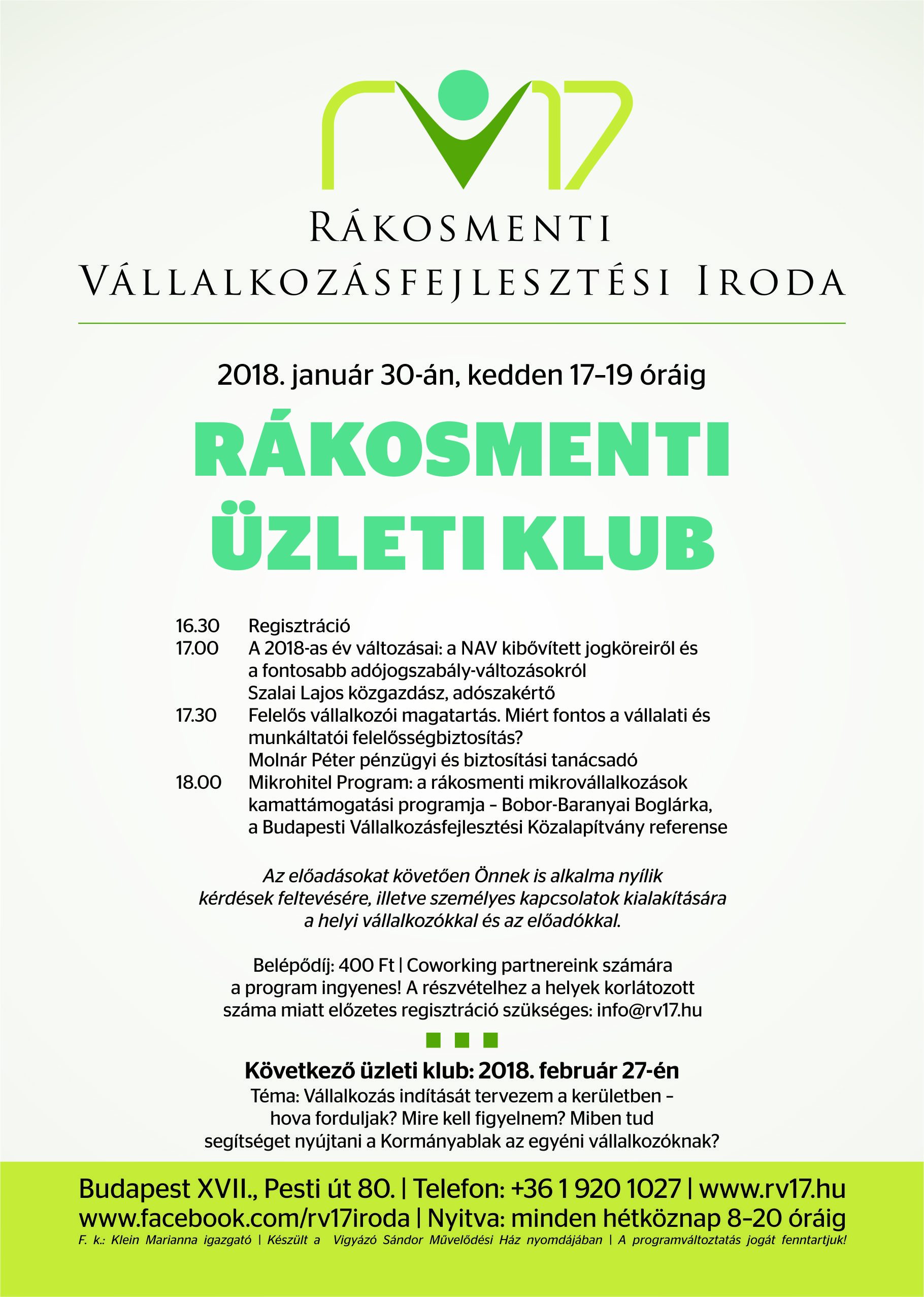 Rákosmenti üzleti klub - 2018.01.30.