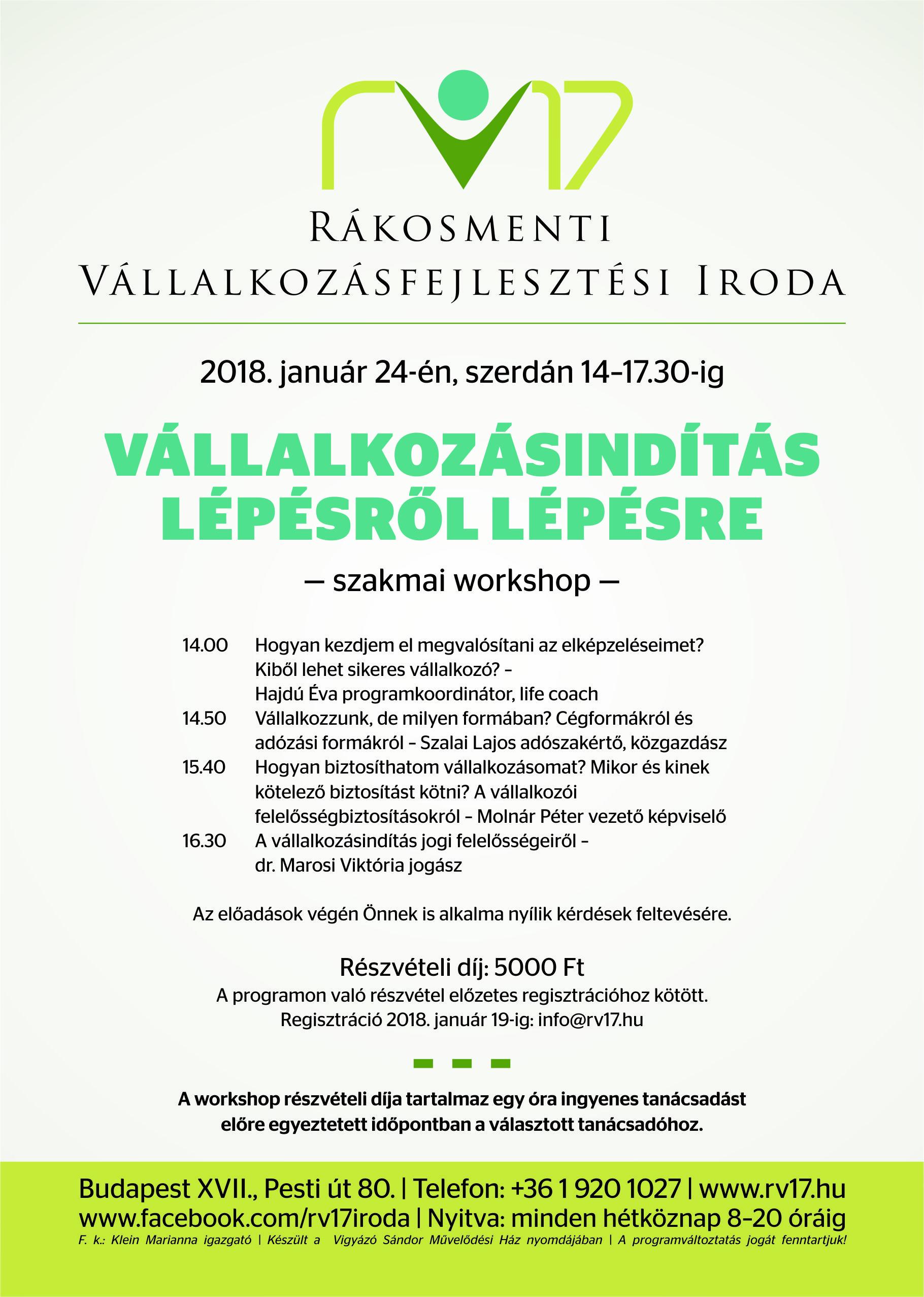 Vállalkozásindítás lépésről lépésre - 2018.01.24.